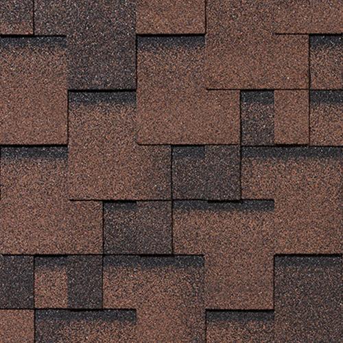 Битумная черепица RoofShield Family ECO Light Модерн коричневый с оттенением