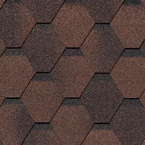 Битумная черепица RoofShield Family ECO Light Стандарт коричневый с оттенением