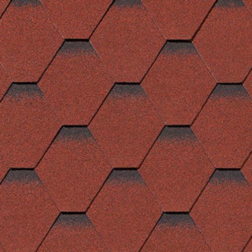 Битумная черепица RoofShield Premium Стандарт красный с оттенением