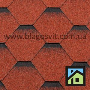 Битумная черепица RoofShield Classic Стандарт красный с оттенением