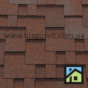 Битумная черепица RoofShield Elite Модерн коричневый с оттенением