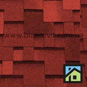 Битумная черепица RoofShield Classic Модерн красный с оттенением