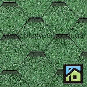 Битумная черепица RoofShield Family Light Стандарт зеленый с оттенением