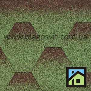 Бітумна черепиця Aquaizol Мозаїка Зелена мікс