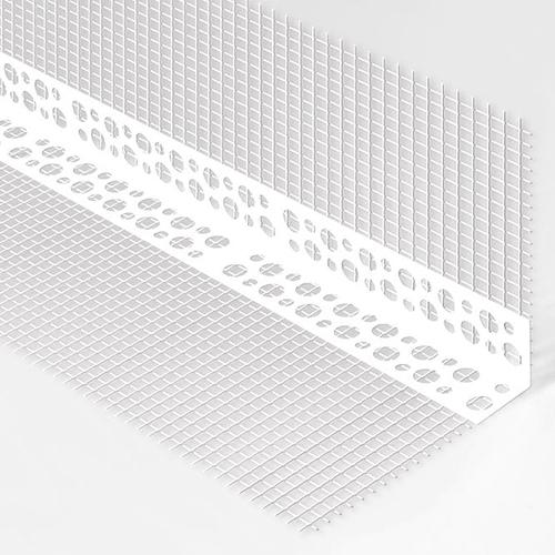 Кут армуючий пластиковий перфорований з сіткою 7х7см 3м